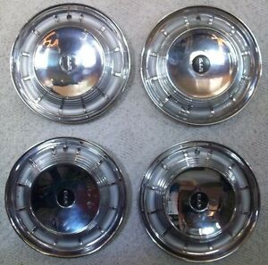 1958 Edsel Corsair Ranger Hubcaps Wheel Covers 14 Inch Lot Of 4 Stainless Steel