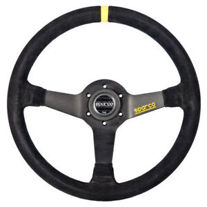 Sparco R345 Competition Steering Wheel Black Suede Yellow Stripe 63mm Dish 350mm