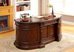 Furniture Of America Roosevelt Cherry Finish Home Office Oval Executive Desk
