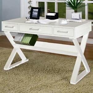 Coaster 800912 Home Office White 3 Drawer Desk With Criss Cross Legs