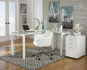 Ashley Baraga 3pc White L Shape Desk Swivel Chair And File Cabinet Set