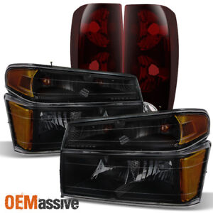 Fit 04 12 Chevy Colorado Gmc Canyon Smoked Headlights Dark Red Tail Lights