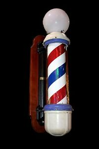 Early Theo A Kochs Revolving Barber Pole With Mahogany Wall Mount