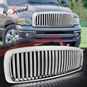 For 02 05 Dodge Ram Dr Dh Chrome Front Bumper Sport Vertical Grill Grille Guard