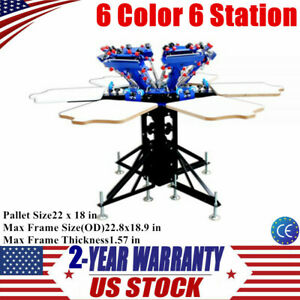 6 Color 6 Station Screen Printing Equipment Micro adjust Rotatable T shirt Press
