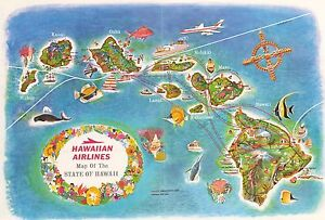 1960 Hawaiian Airlines Map Of The State Of Hawaii