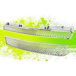 Chrome Diamond Mesh Grille grill Bumper Guard For 07 12 Tahoe avalanche suburban