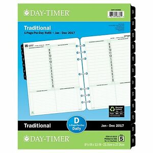 Daytimer Daily Planner Refill 2017 One Page Per Day Traditional 81 2 X 11