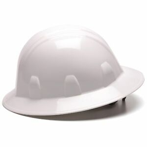 Pyramex Full Brim Hard Hat With 6 Point Ratchet Suspension White