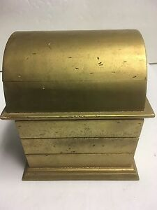 Vintage Handmade Wooden Sewing Vanity Chest Box Gold Colored