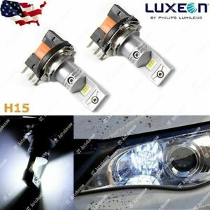 Super Bright Hid Xenon White 100w H15 Led Bulbs Vw Audi Bmw Mercedes Drl Lights