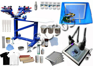 4 Color 1 Station Screen Printing Kit Vertical Silk Screen Printing Press New