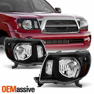 Fits 2005 2011 Toyota Tacoma Black Headlights Lamps Replacement 06 07 08 09 10