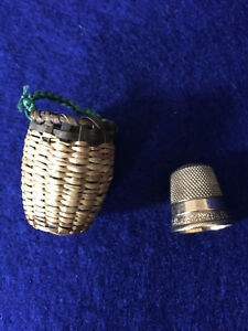 Sweet Grass Basket Thimble Holder Gold Thimble