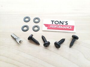 Black Theft Deterrent Auto Security License Plate Screws Stainless Steel Snake