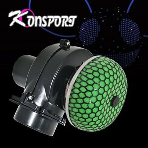 3 6 Hp Gain Electric Supercharger Custom Gas Saver Air Intake Filter Black Green