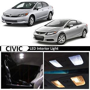 8x Bulb White Interior Led Lights Package Fits Honda Civic 2006 2012 Sedan Coupe