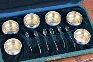 Gorham Sterling Silver Set Of 6 Salt Cellars Spoons W Original Case