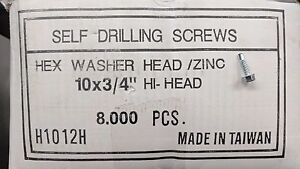 Duro Dyne 15196 Hi Head Tek Screws 10 X 3 4 Zinc Sheet Metal Screw New In Box