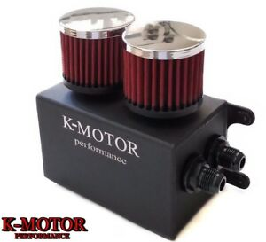 K motor Black Aluminum Oil Catch Can Reservoir Tank With Breather Filter Baffled