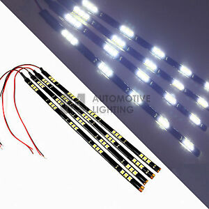 4x White 12 Led Strip 15 Smd Car Footwell Under Dash Accent Light Waterproof