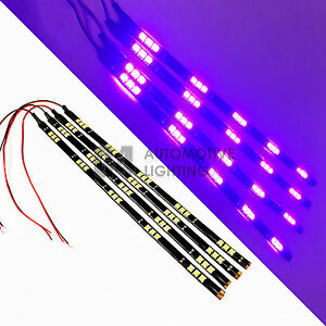 4x Purple 12 Led Strip 15 Smd Car Footwell Under Dash Accent Light Waterproof