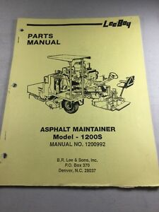 Leeboy Model 1200s Asphalt Maintainer Parts Manual
