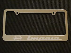Chevy Impala Chrome License Plate Frame Chrome Metal Brushed Aluminum Text