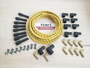 8mm Diy Universal Cloth Covered Spark Plug Wire Kit Vintage Wires V8 Yellow Bk