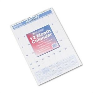 Recycled Monthly Wall Calendar Blue And Red 12 X 17 2014 X 3
