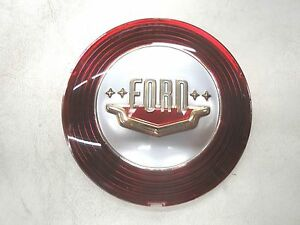 1950 50 Ford Red Silver Car Horn Button Plastic New