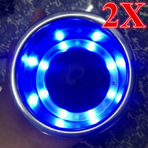 2x Stainless Steel Blue Led Cup Drink Holder Polished For Marine Boat Truck Rv