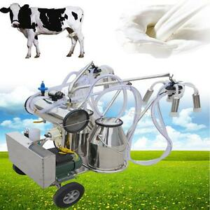 Professional Double Tank Milker Electric Vacuum Pump Milking Machine For Cowfarm