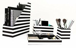 Desk Black White Desk Accessories Organizer 4 Pcs Set For Office Stores Magazine