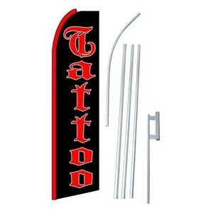Tattoo Flag Swooper Feather Sign Banner 15ft Kit Made In Usa