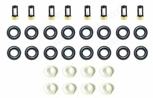 V8 Fuel Injector Service Repair Kit O Rings Filters Seals Retainers Pintle Caps