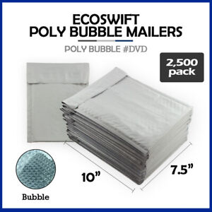 2500 0 7 5x10 ecoswift Brand Poly Bubble Mailers Padded Envelope Dvd 7 5 X 10
