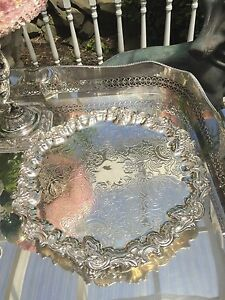 Antique English Victorian Silver Plate Footed Round Tray With 13 Inches