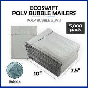 5000 0 7 5x10 ecoswift Brand Poly Bubble Mailers Padded Envelope Dvd 7 5 X 10
