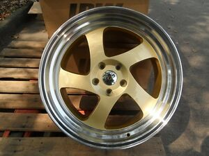 19 Gold Machine Lip Drift Style Rims Fit Honda Accord Staggered 350z 370z 5x114