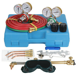 Gas Welding Cutting Kit Acetylene Oxygen Torch Set Regulator W Free 3 Nozzles