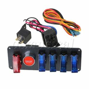 Racing Car Panel With 5 Start Button Red Blue Ignition Switch 12v