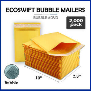 2000 0 7 5x10 ecoswift Brand Kraft Bubble Mailers Padded Envelope Dvd 7 5 X 10