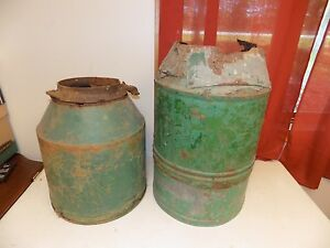 2 Vintage John Deere Fertilizer Hopper W Extension Tractor Part Corn Planter Old