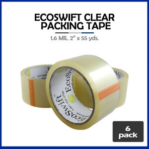 6 Rolls ecoswift Brand Packing Tape Box Packaging 1 6mil 2 X 55 Yard 165 Ft