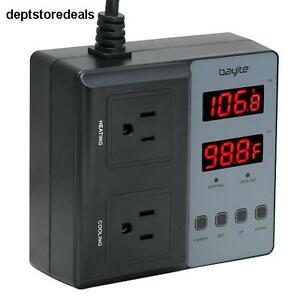Temperature Controller Pre wired Digital Outlet Thermostat Heating Cooling Mode
