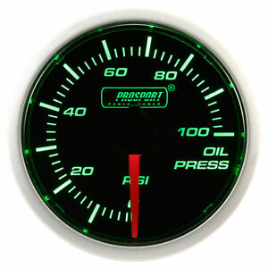 Prosport 52mm Green Super White Led Smoke Oil Pressure Gauge Psi