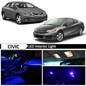 Blue Interior License Plate Led Lights Package Kit Fits 2013 2015 Honda Civic