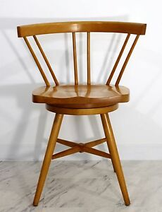 Mid Century Modern Paul Mccobb Attributed Spindle Back Swivel Chair 50s 60s