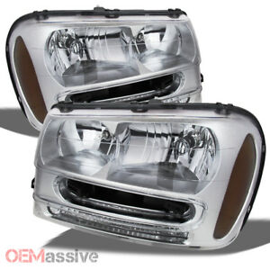 Fit 2002 2009 Chevy Trailblazer Suv Clear Replacement Headlights Front Lamps